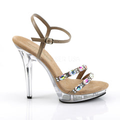 FABULICIOUS LIP-133 Taupe Pu-Clear Ankle Strap Sandals