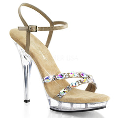 FABULICIOUS LIP-133 Taupe Pu-Clear Ankle Strap Sandals - Shoecup.com