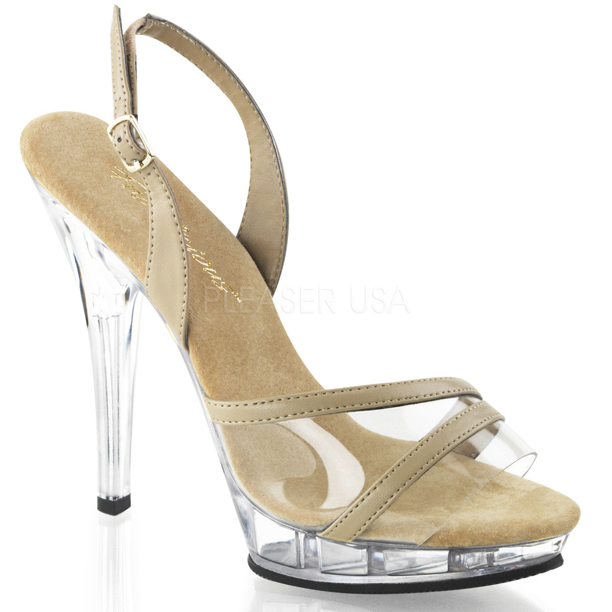Fabulicious LIP-137 Taupe Pu-Clear Sling Back Sandals - Shoecup.com