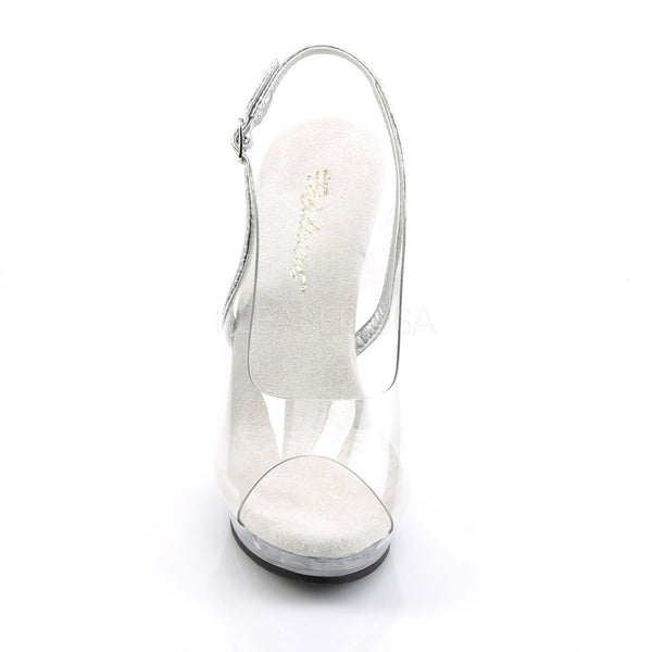 FABULICIOUS LIP-150 Clear-Silver-Clear Slingback Sandals