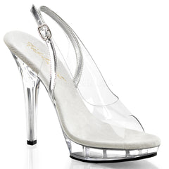 FABULICIOUS LIP-150 Clear-Silver-Clear Slingback Sandals - Shoecup.com