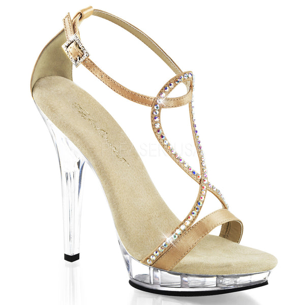 Fabulicious LIP-156 Champagne Satin Ankle Strap Sandals - Shoecup.com