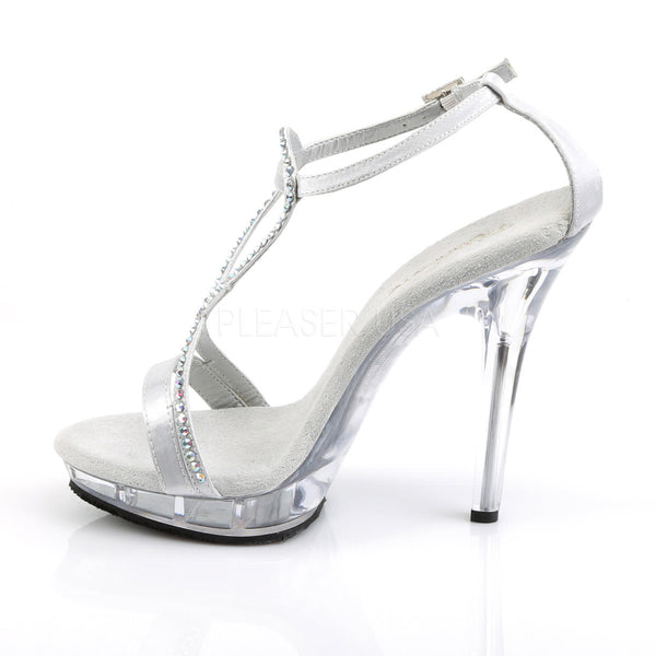 Fabulicious LIP-156 Silver Satin Ankle Strap Sandals