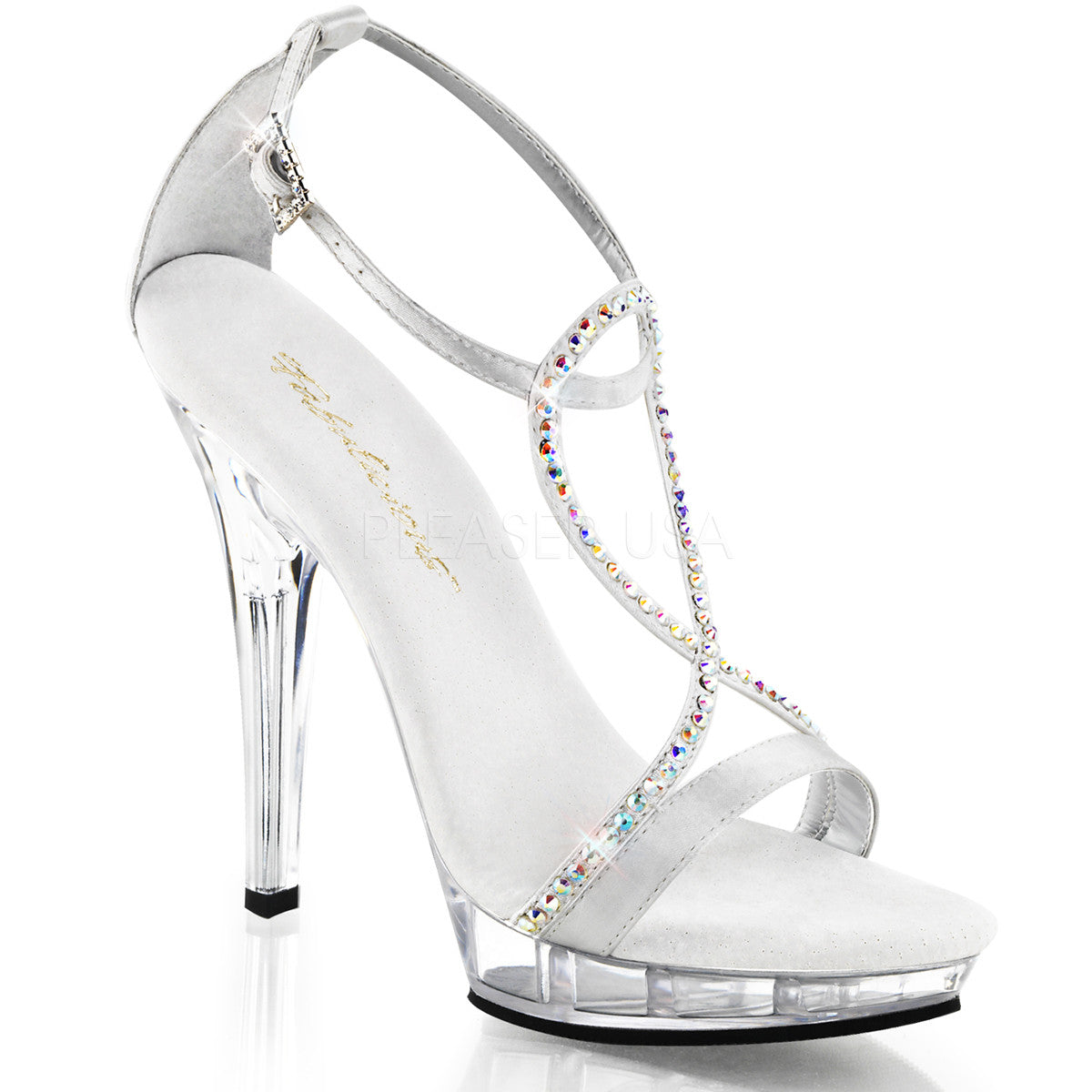 Fabulicious LIP-156 Silver Satin Ankle Strap Sandals - Shoecup.com