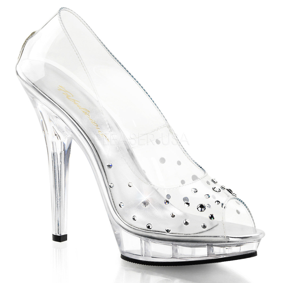 FABULICIOUS LIP-182 Clear-Clear Peep Toe Pumps - Shoecup.com