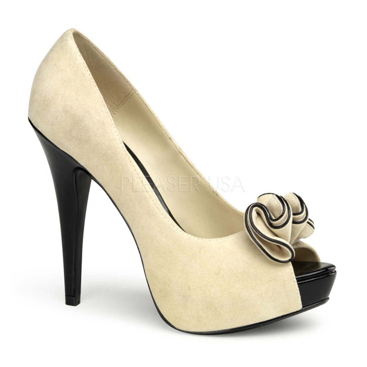 Pin Up Couture LOLITA-10 Beige Suede Pu Peep Toe Pumps - Shoecup.com - 1