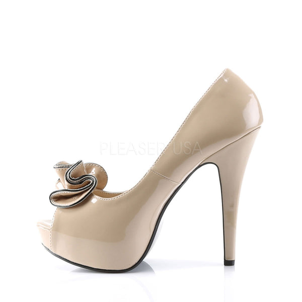 PINUP COUTURE LOLITA-10 Cream/Cream Peep Toe Pumps - Shoecup.com - 2
