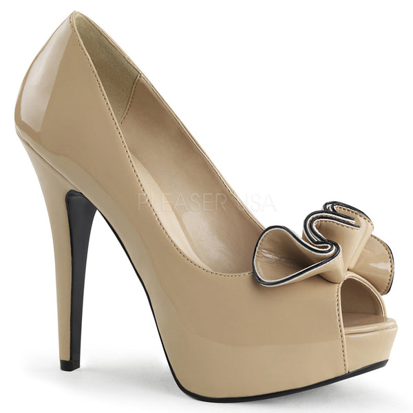 PINUP COUTURE LOLITA-10 Cream/Cream Peep Toe Pumps - Shoecup.com - 1