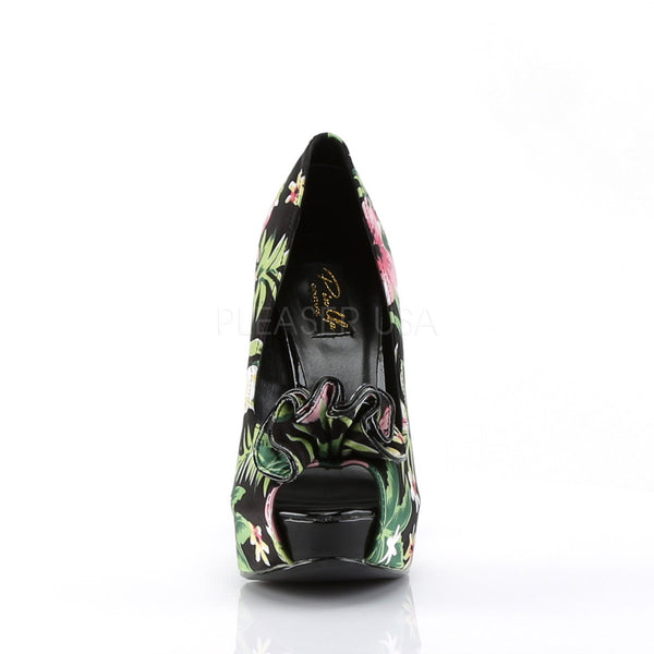 Pin Up Couture LOLITA-11 Black Floral Print Fabric Peep Toe Pumps - Shoecup.com - 4