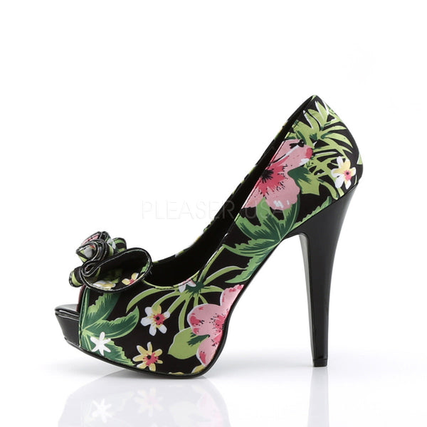 Pin Up Couture LOLITA-11 Black Floral Print Fabric Peep Toe Pumps - Shoecup.com - 2
