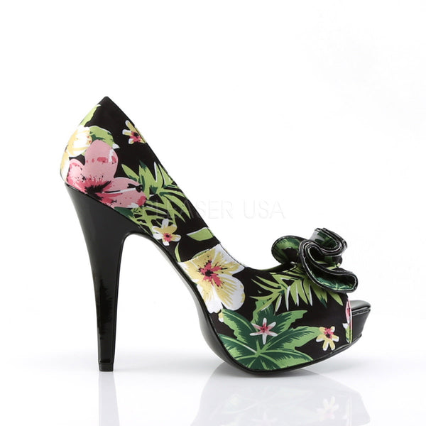 Pin Up Couture LOLITA-11 Black Floral Print Fabric Peep Toe Pumps - Shoecup.com - 3