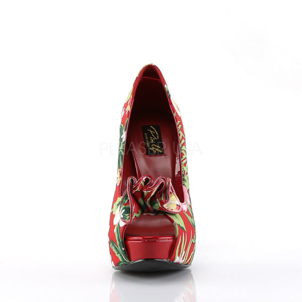 Pin Up Couture LOLITA-11 Red Floral Print Fabric Peep Toe Pumps - Shoecup.com - 4