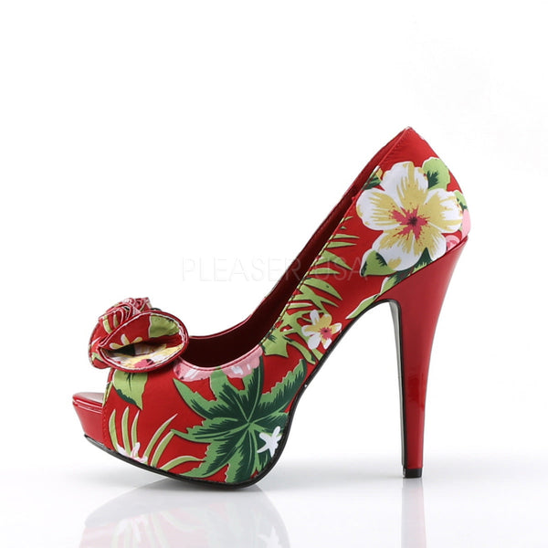 Pin Up Couture LOLITA-11 Red Floral Print Fabric Peep Toe Pumps - Shoecup.com - 2