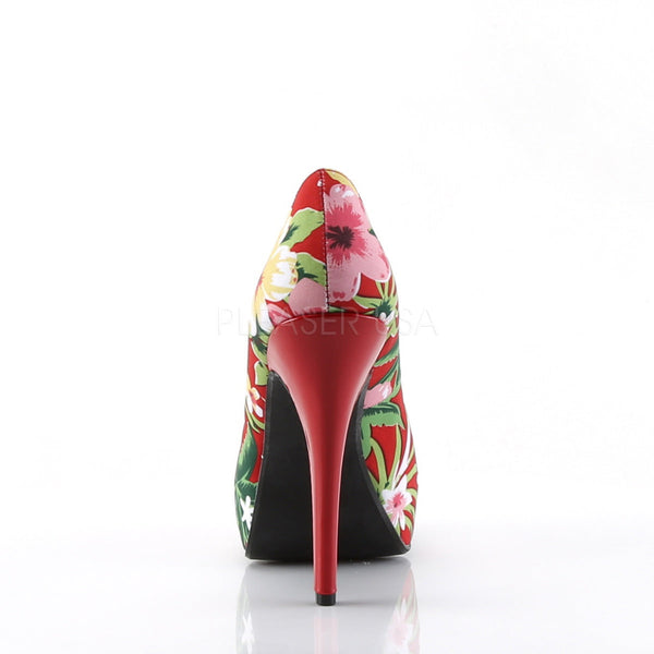 Pin Up Couture LOLITA-11 Red Floral Print Fabric Peep Toe Pumps - Shoecup.com - 5