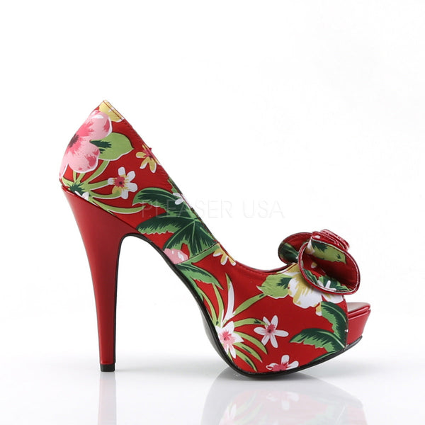 Pin Up Couture LOLITA-11 Red Floral Print Fabric Peep Toe Pumps - Shoecup.com - 3
