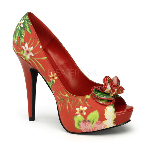 Pin Up Couture LOLITA-11 Red Floral Print Fabric Peep Toe Pumps - Shoecup.com - 1