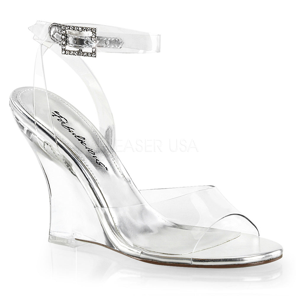 Fabulicious LOVELY-406 Clear Wrap Around Wedge Sandals