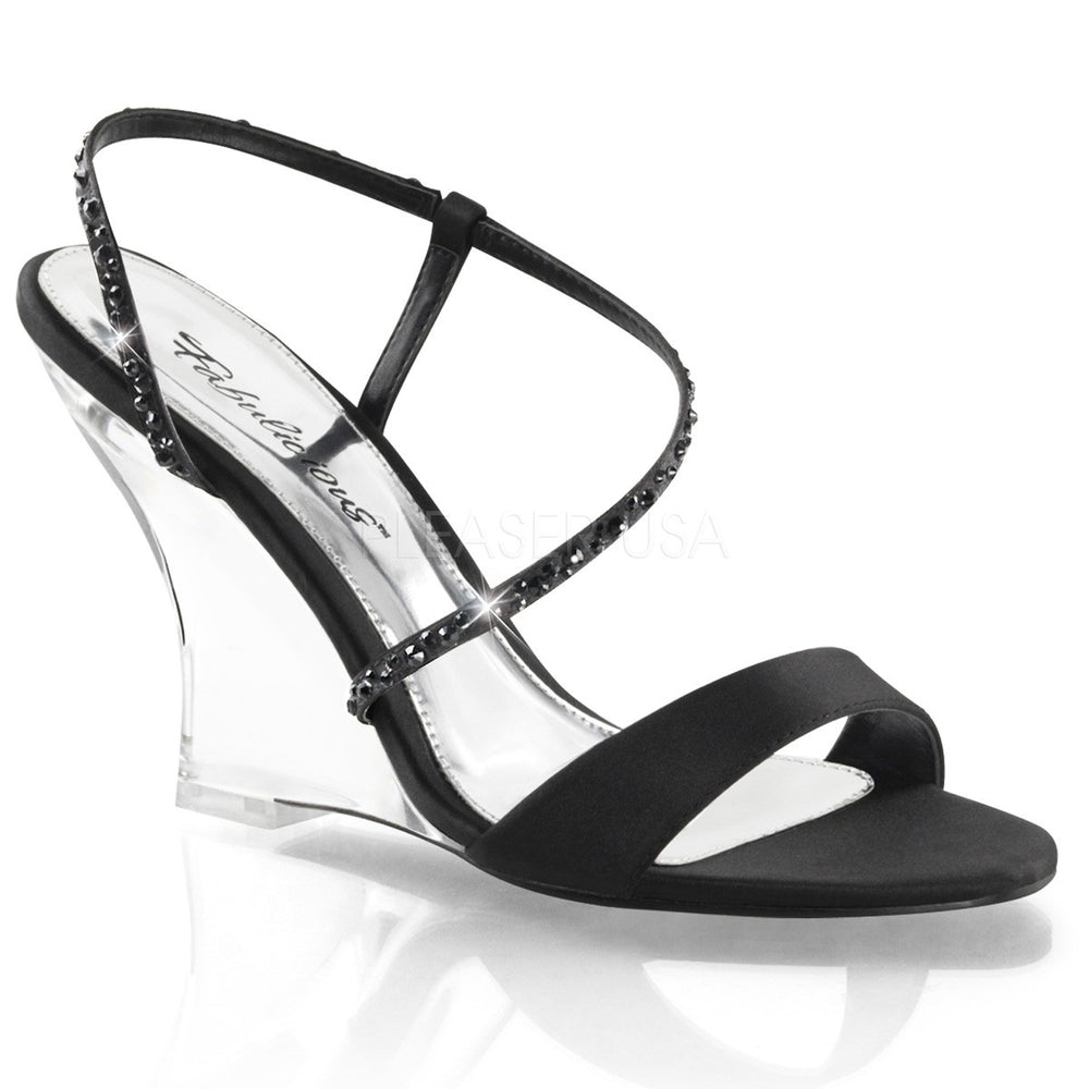 FABULICIOUS LOVELY-417 Black Satin-Clear Slingback Wedges