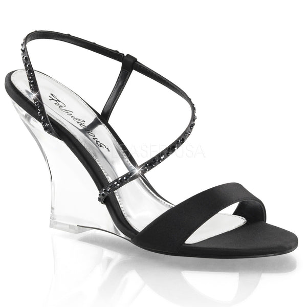 FABULICIOUS LOVELY-417 Black Satin-Clear Slingback Wedges - Shoecup.com