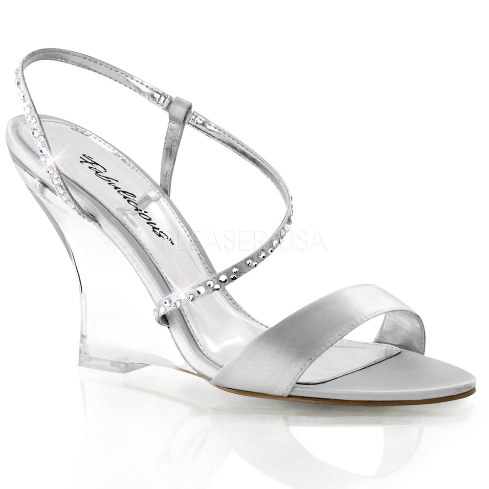 FABULICIOUS LOVELY-417 Silver Satin-Clear Slingback Wedges