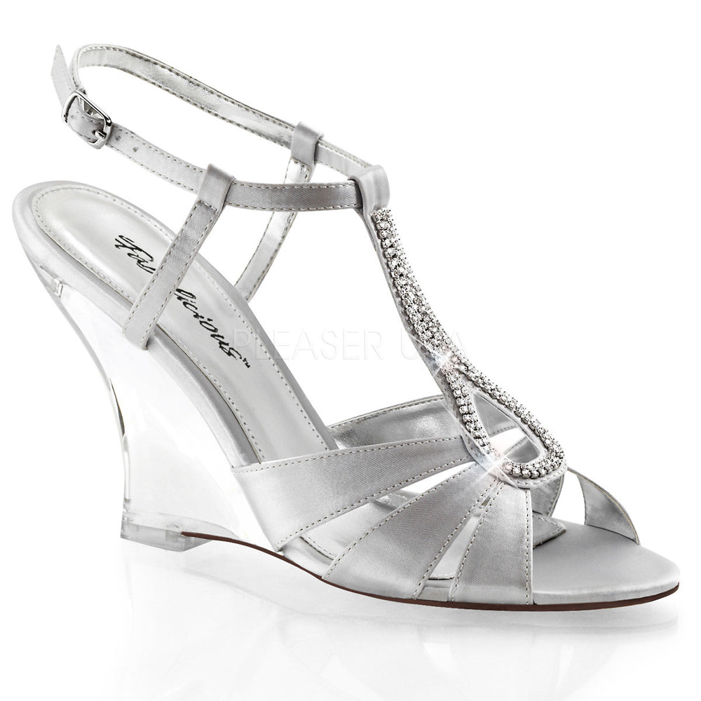 FABULICIOUS LOVELY-420 Silver Satin-Clear Slingback Wedges