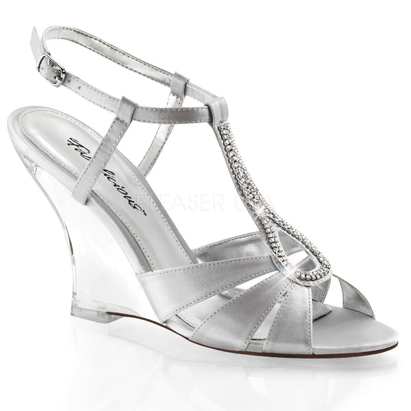 FABULICIOUS LOVELY-420 Silver Satin-Clear Slingback Wedges - Shoecup.com