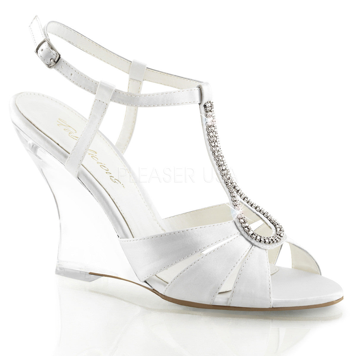 FABULICIOUS LOVELY-420 Wht Satin-Clear Slingback Wedges - Shoecup.com