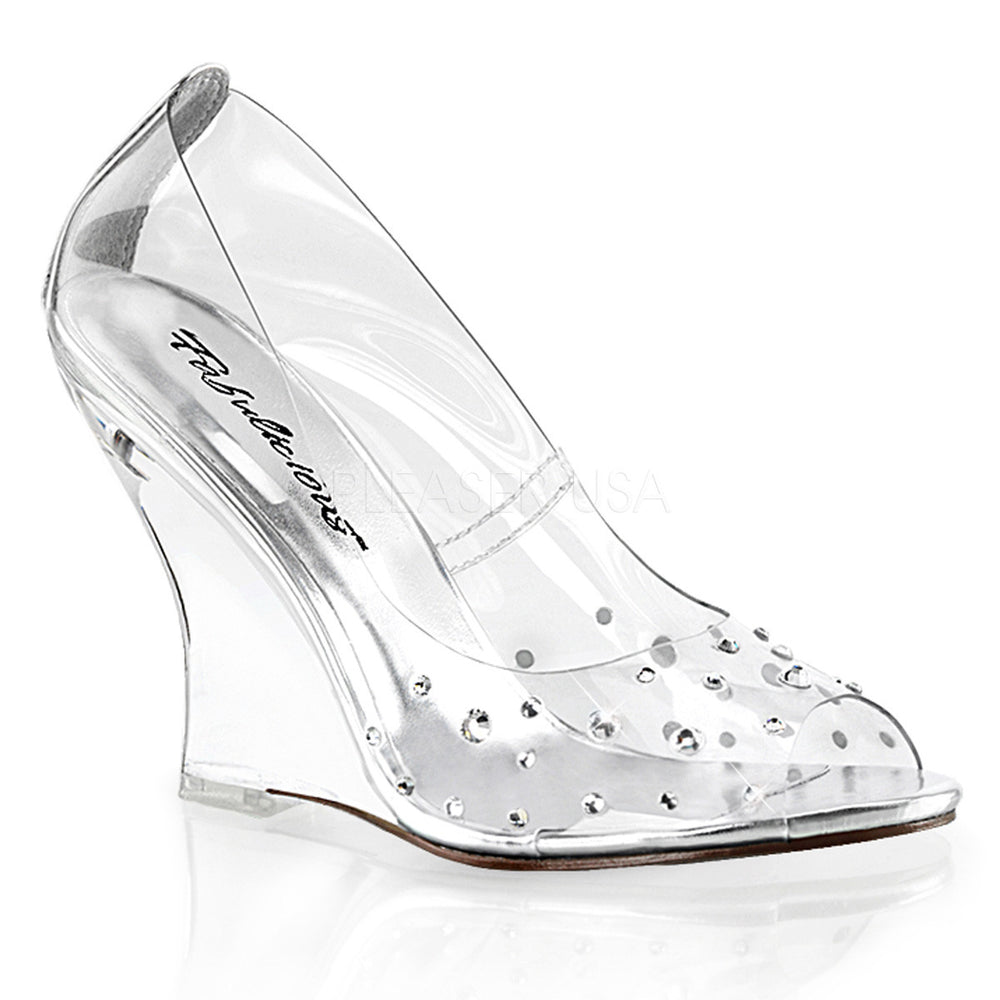 Fabulicious LOVELY-420RS Clear Peep Toe Wedge Pumps
