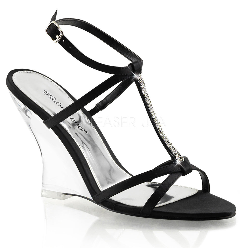 FABULICIOUS LOVELY-428 Black Satin-Clear Slingback Wedges