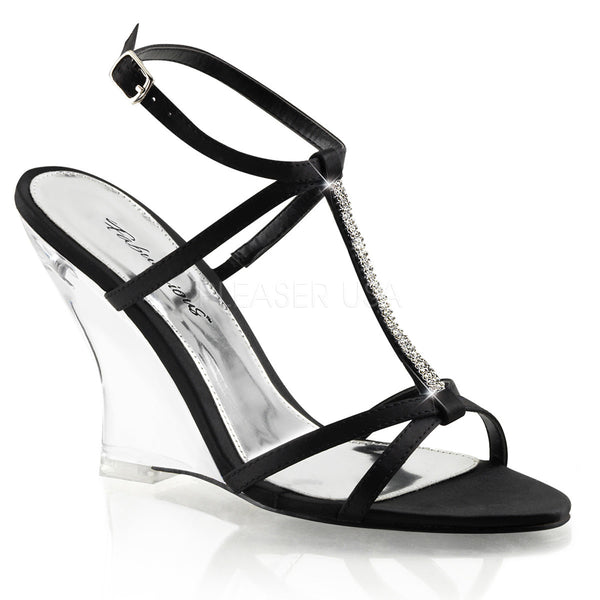 FABULICIOUS LOVELY-428 Black Satin-Clear Slingback Wedges - Shoecup.com