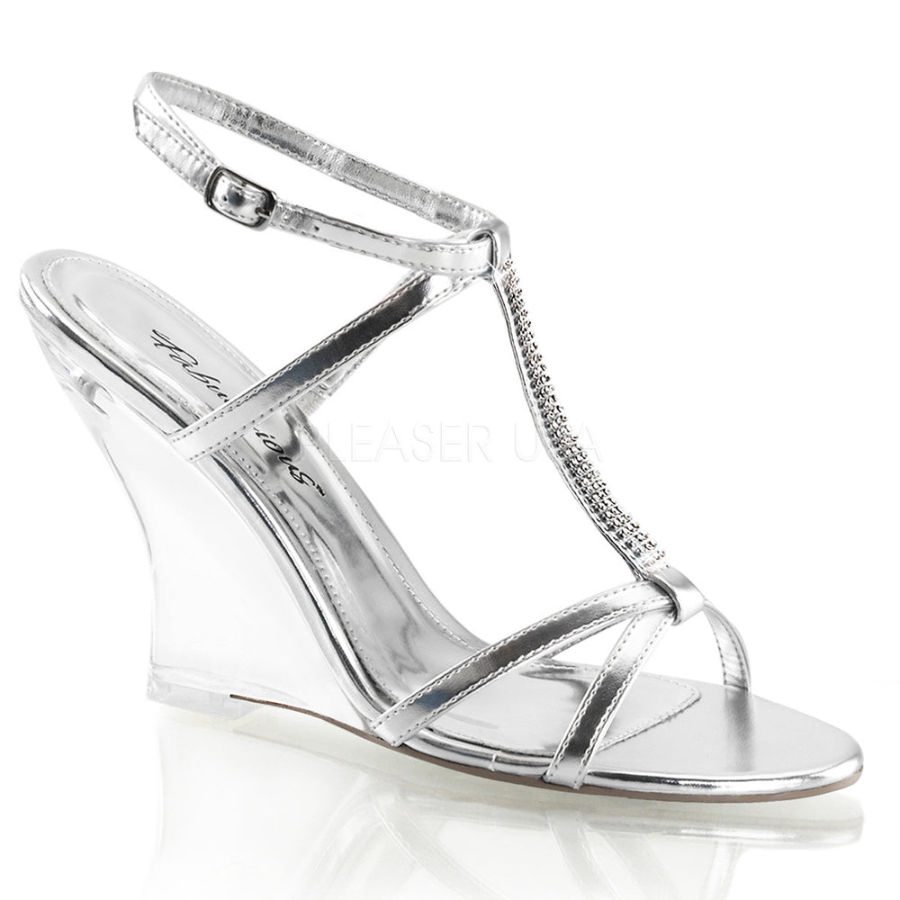 FABULICIOUS LOVELY-428 Silver Metallic Pu-Clear Slingback Wedges