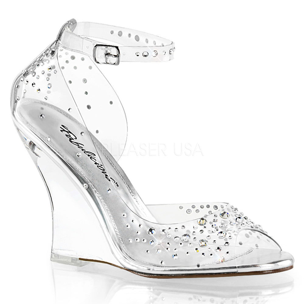 Fabulicious LOVELY-430RS Clear Wedge Sandals With Rhinestones