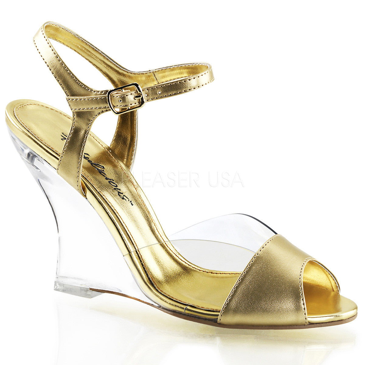 FABULICIOUS LOVELY-442 Clear-Gold Metallic Pu-Clear Ankle Strap Wedges - Shoecup.com
