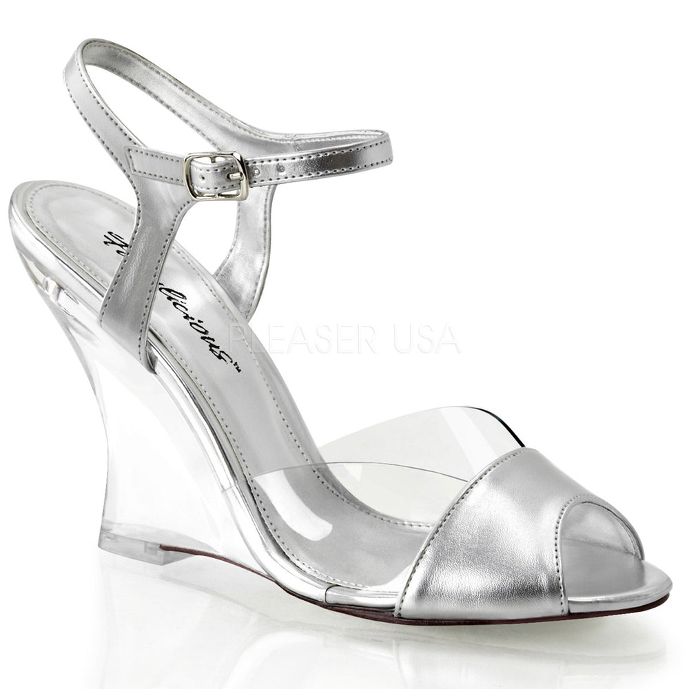 FABULICIOUS LOVELY-442 Clear-Silver Metallic Pu-Clear Ankle Strap Wedges