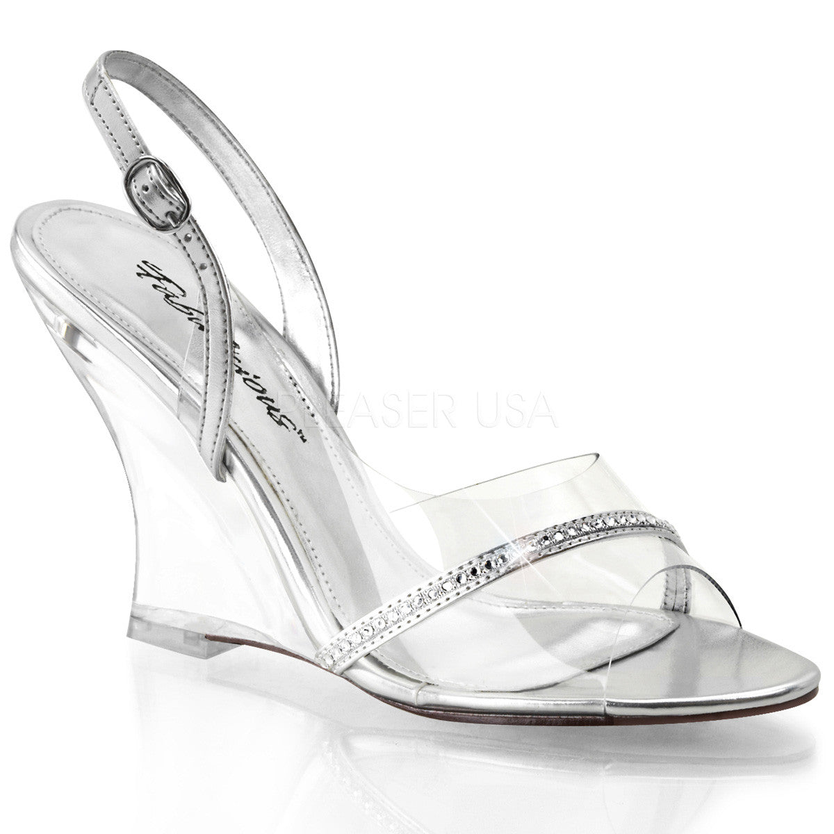 FABULICIOUS LOVELY-456 Clear-Silver Metallic Pu-Clear Ankle Strap Wedges - Shoecup.com