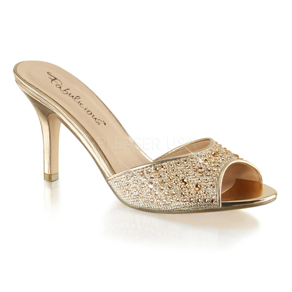 Fabulicious LUCY-01 Gold Glitter Mesh Fabric Sildes - Shoecup.com