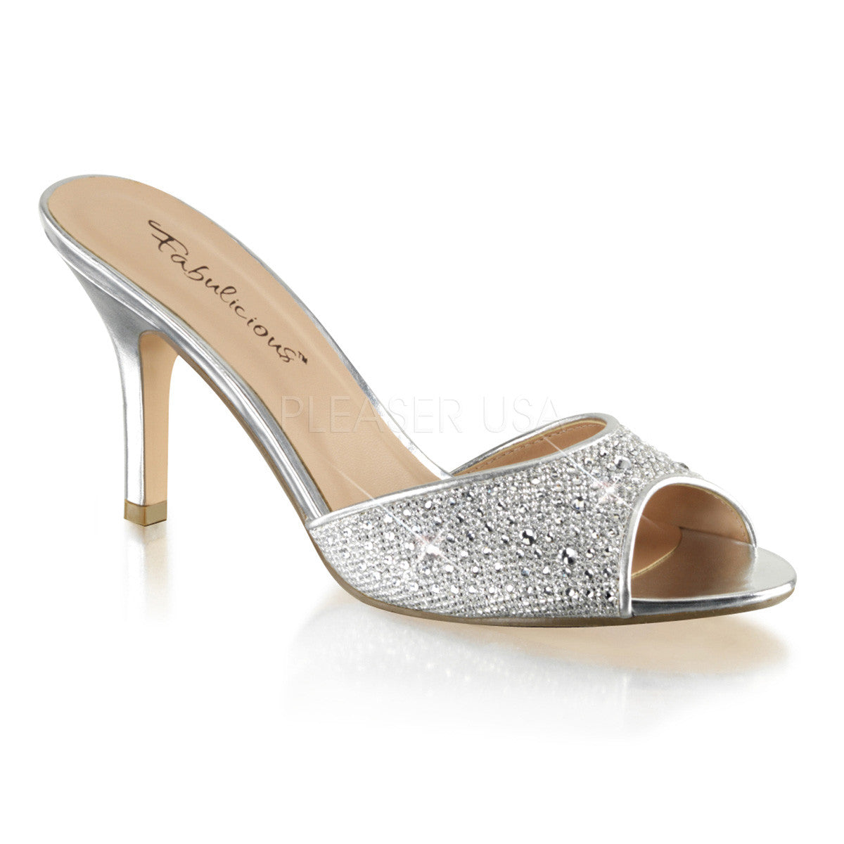 Fabulicious LUCY-01 Silver Glitter Mesh Fabric Sildes - Shoecup.com
