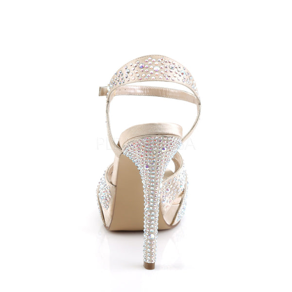 FABULICIOUS LUMINA-23 Champagne Satin Ankle Strap Sandals