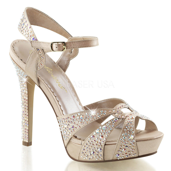 FABULICIOUS LUMINA-23 Champagne Satin Ankle Strap Sandals - Shoecup.com