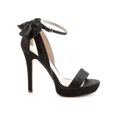 FABULICIOUS LUMINA-25 Black Satin Ankle Strap Sandals