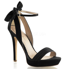 FABULICIOUS LUMINA-25 Black Satin Ankle Strap Sandals - Shoecup.com