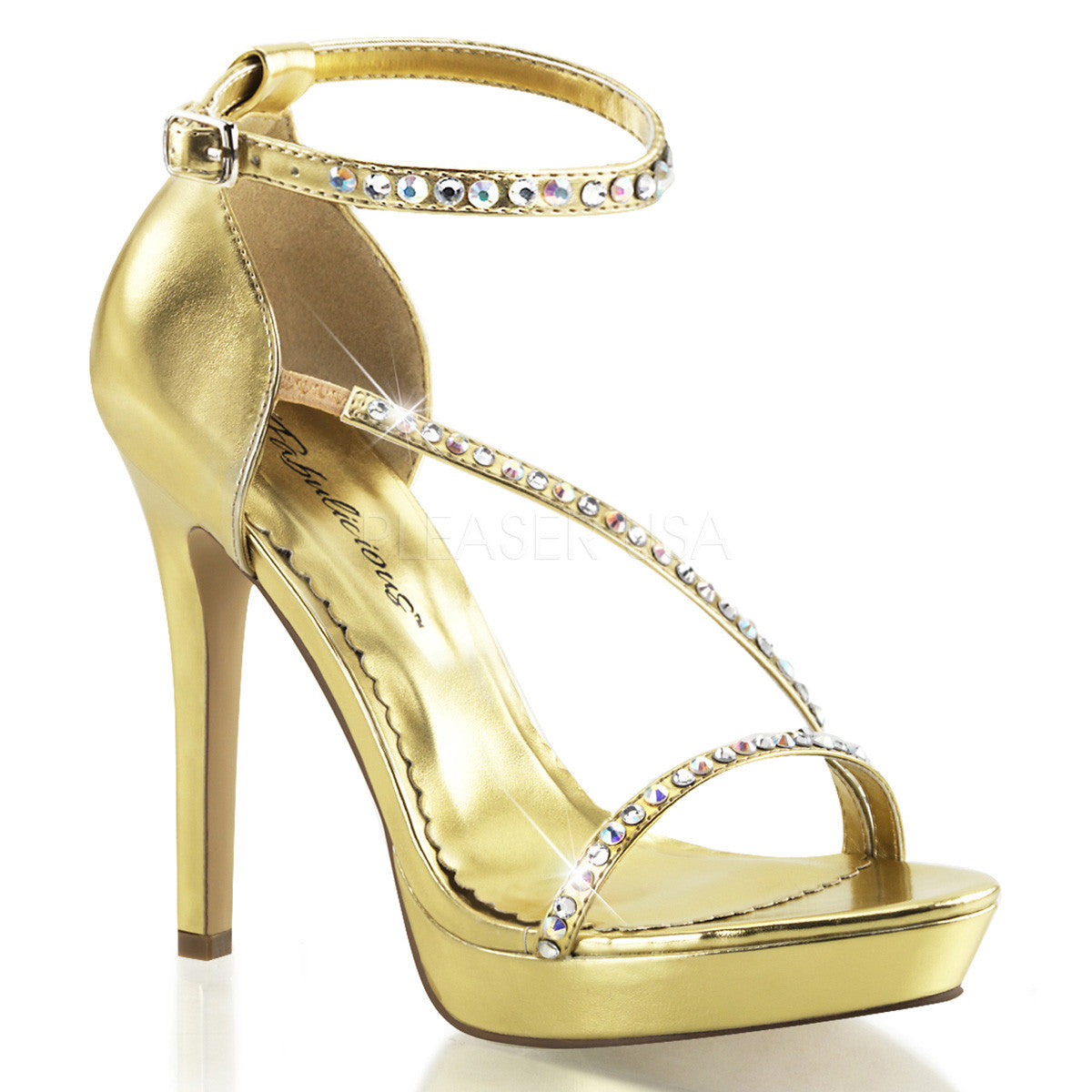 FABULICIOUS LUMINA-26 Gold Metallic Pu Ankle Strap Sandals - Shoecup.com