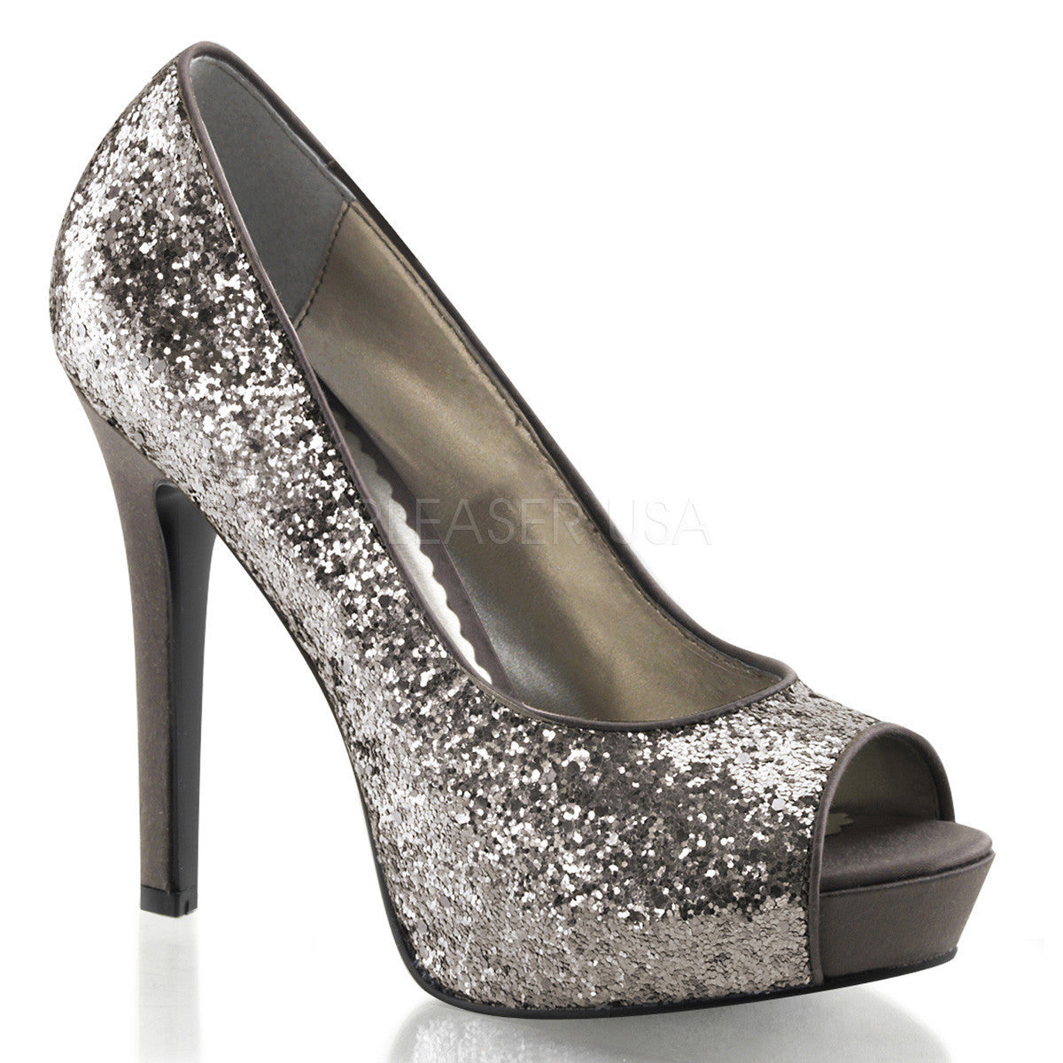 FABULICIOUS LUMINA-27G Charcoal Glitter Open Toe Pumps - Shoecup.com