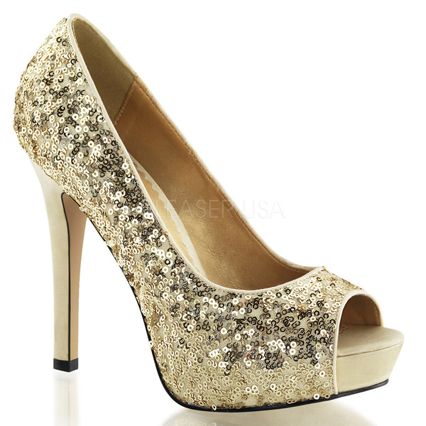 FABULICIOUS LUMINA-27SQ Gold Sequins Open Toe Pumps - Shoecup.com