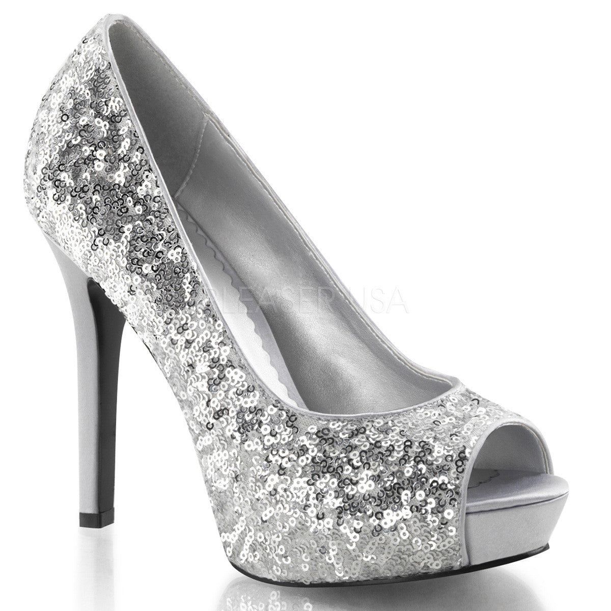FABULICIOUS LUMINA-27SQ Silver Sequins Open Toe Pumps - Shoecup.com