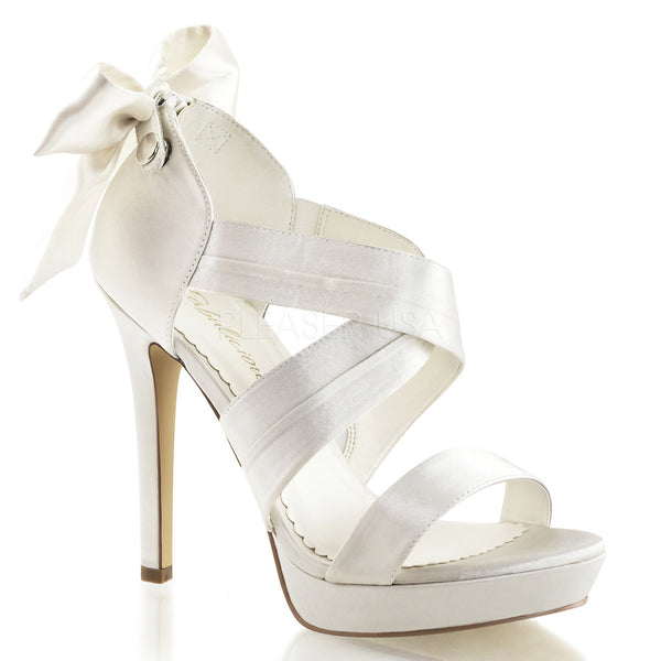 FABULICIOUS LUMINA-29 Ivory Satin Closed Back Sandals - Shoecup.com