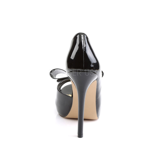 FABULICIOUS LUMINA-32 Black Pat Peep Toe Pumps