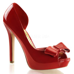 FABULICIOUS LUMINA-32 Red Pat Peep Toe Pumps - Shoecup.com