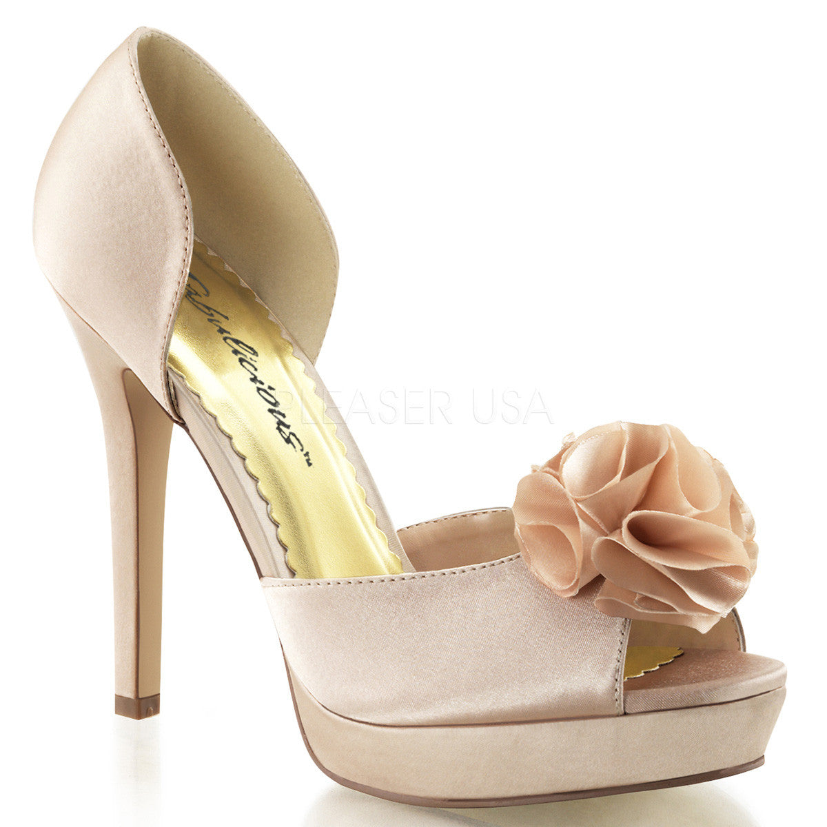 FABULICIOUS LUMINA-34 Champagne Satin Peep Toe Pumps - Shoecup.com