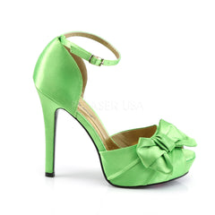 FABULICIOUS LUMINA-36 Apple Green Satin Peep Toe Pumps